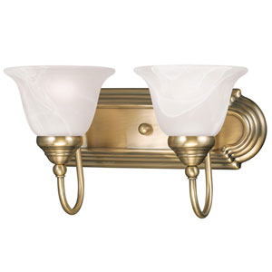 Belmont Antique Brass Two Light Bath Light