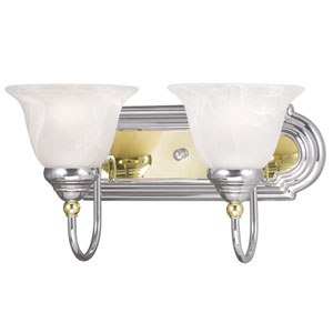 Belmont Chrome and Polished Brass Two Light Bath Light