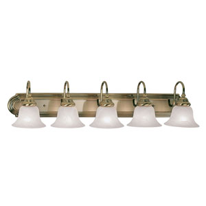Belmont Five-Light Antique Brass Bath Fixture