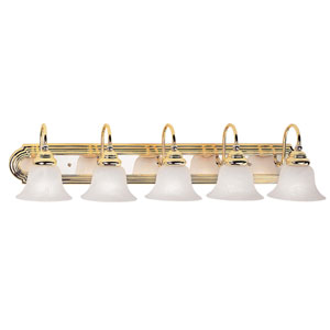 Belmont Five-Light Polished Brass and Chrome Bath Fixture