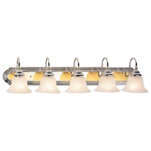 Belmont Chrome and Polished Brass Five Light Bath Light
