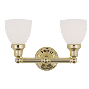 Classic Polished Brass Two-Light Bath Fixture