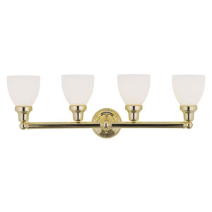 Classic Polished Brass Four-Light Bath Fixture