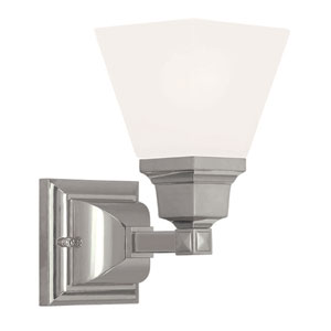 Mission Polished Nickel 5-Inch One-Light Bath Sconce