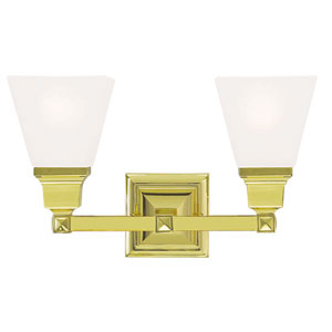 Mission Polished Brass 15-Inch Two-Light Bath Light
