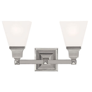 Mission Polished Nickel 15-Inch Two-Light Bath Light