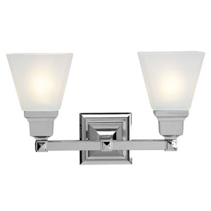 Mission Chrome Two-Light Bath Fixture
