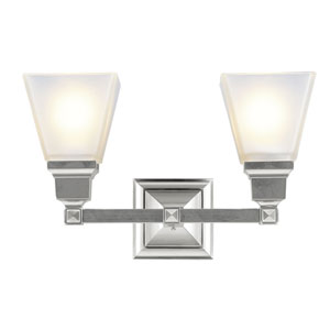 Mission Brushed Nickel Two-Light Bath Fixture