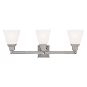 Mission Polished Nickel 25.5-Inch Three-Light Bath Light