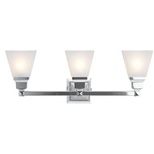 Mission Chrome Three-Light Bath Fixture