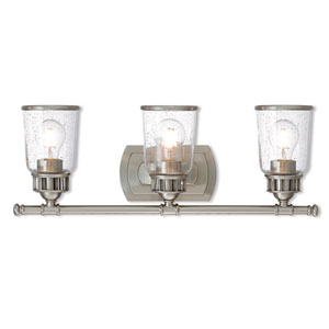 Lawrenceville Brushed Nickel Three-Light Bath Vanity