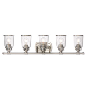 Lawrenceville Brushed Nickel Five-Light Bath Vanity