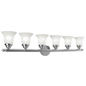 Home Basics Chrome Six-Light Bath Fixture