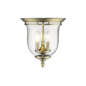 Legacy Antique Brass Hand Blown Clear Glass Three Light Ceiling Mount