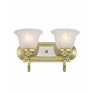 Belmont Polished Brass and Chrome Two Light Bath Light
