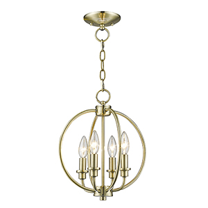 Milania Antique Brass Four Light Convertible Chain Hang and Ceiling Mount