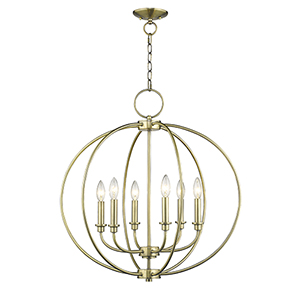 Milania Antique Brass Six Light Chandelier