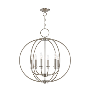 Milania Brushed Nickel Six Light Chandelier