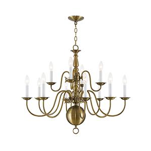 Williamsburgh Antique Brass 12 Light Chandelier