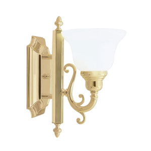 French Regency One-Light Polished Brass Bath Fixture