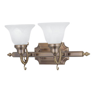 French Regency Antique Brass Two-Light Bath Fixture