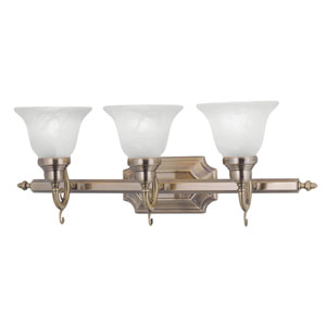 French Regency Antique Brass Three-Light Bath Fixture