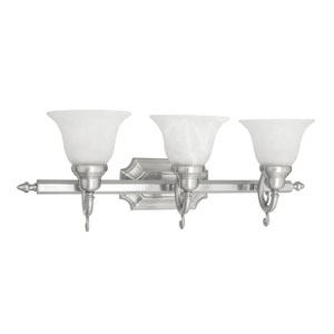 French Regency Three-Light Brushed Nickel Bath Fixture