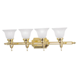 French Regency Polished Brass Four-Light Bath Fixture