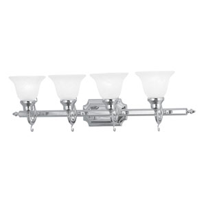 French Regency Chrome Four-Light Bath Fixture