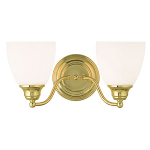 Somerville Polished Brass 15.5-Inch Two-Light Bath Light