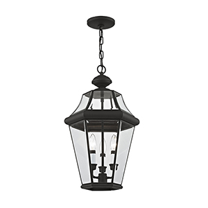 Georgetown Black Three Light 21-Inch Outdoor Hanging Chain Pendant