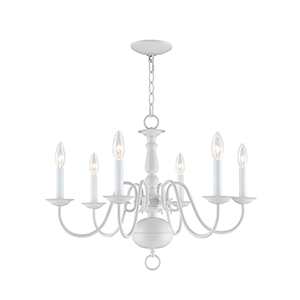 Williamsburgh White Six Light Chandelier