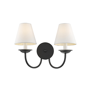 Mendham Black Two Light 11.5-Inch Wall Sconce