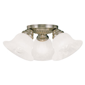 Edgemont Antique Brass Three-Light Ceiling Mount