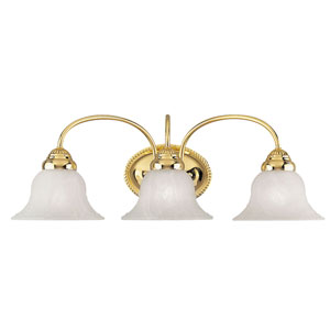 Edgemont Three-Light Polished Brass Bath Fixture