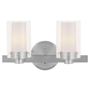 Manhattan Two-Light Brushed Nickel Bath Fixture
