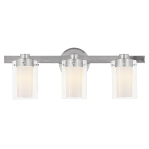 Manhattan Three-Light Brushed Nickel Bath Fixture