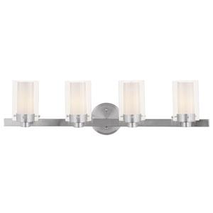 Manhattan Four-Light Brushed Nickel Bath Fixture