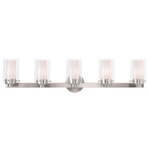 Manhattan Brushed Nickel 35.5-Inch Five-Light Bath Light