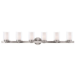 Manhattan Brushed Nickel 47.5-Inch Six-Light Bath Light