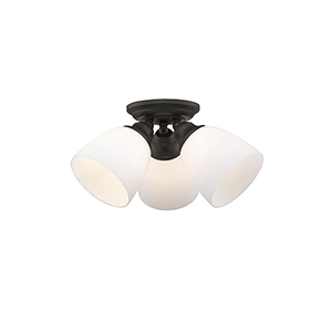 Somerville Bronze 14.5-Inch Three-Light Semi Flush Mount