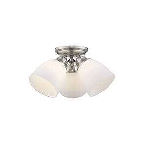 Somerville Brushed Nickel 14.5-Inch Three-Light Semi Flush Mount