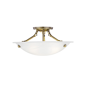 Oasis Antique Brass 16-Inch Three-Light Semi Flush Mount