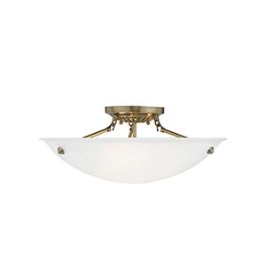 Oasis Antique Brass 20-Inch Three-Light Semi Flush Mount