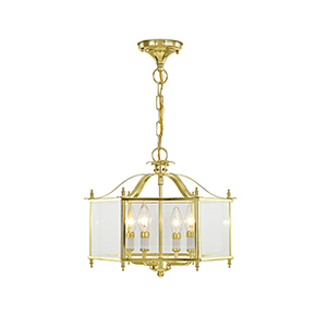 Livingston Polished Brass 15.5-Inch Four-Light Convertible Pendant with Clear Beveled Glass
