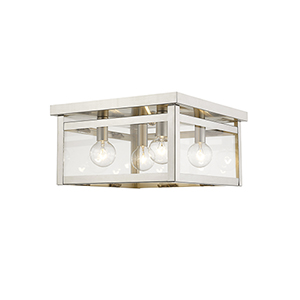 Milford Brushed Nickel 11-Inch Four-Light Flush Mount