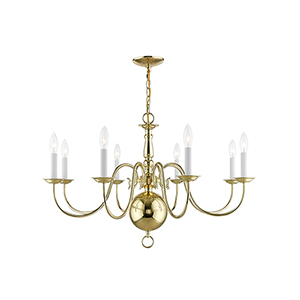 Williamsburgh Polished Brass 32-Inch Eight-Light Chandelier