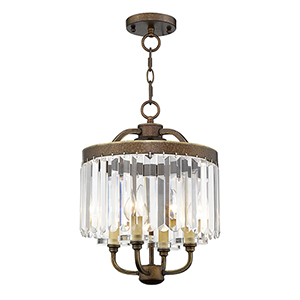 Ashton Hand Painted Palacial Bronze 13-Inch Four-Light Convertible Pendant