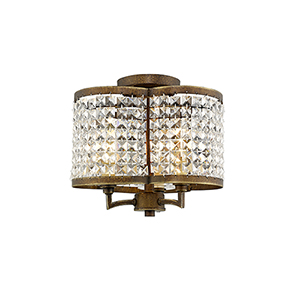 Grammercy Hand Painted Palacial Bronze 12-Inch Three-Light Semi Flush Mount