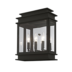 Princeton Black Three-Light 15-Inch Wall Lantern
